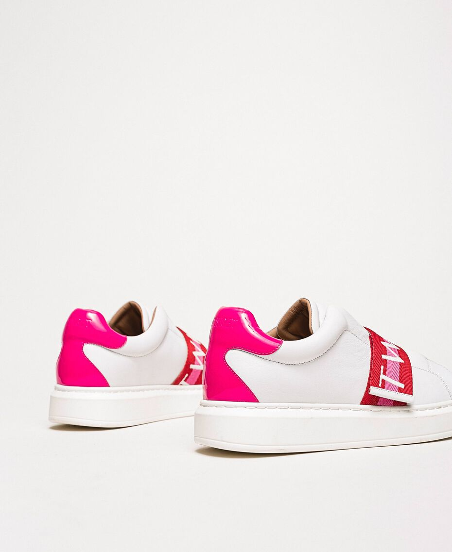 "Sneakers aus Leder mit Logoband Multicolor Optisches Weiß / ""Geranium""-Rot / ""Jazz""-Rosa Frau 201TCT064-03"