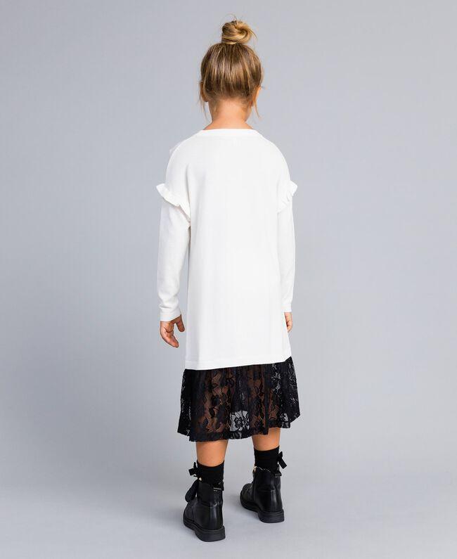 Kleid aus Viskose mit Spitze Zweifarbig Off White / Schwarz Kind GA83BN-03