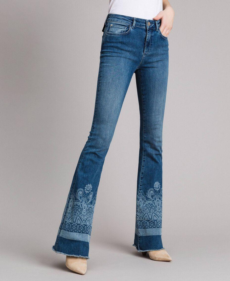 Laser pattern bell bottom jeans Denim Blue Woman 191MT2381-02