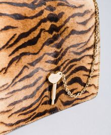 Leather and calf hair shoulder bag Tiger Print Woman OA8TDT-04