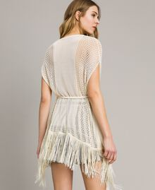 Mesh and lace stitch fringed poncho Ecrù Woman 191TT3061-04