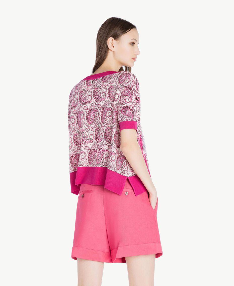 Sequin maxi jumper Pink Macro Paisley Print Woman TS83DC-03