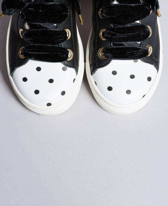 Sneakers aus Leder mit Feston Schwarz Kind HA88CC-04