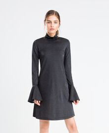 Jersey and lurex dress Black Woman LA8AEE-02