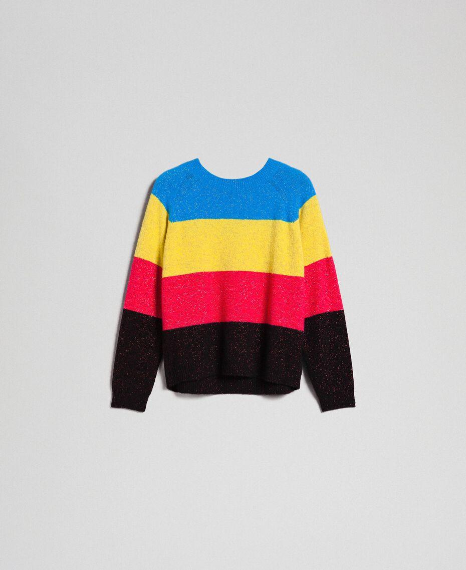 Color-Block-Pullover aus Wolle-Lurex-Mischung Lurex-Tweed Frau 192MT3170-0S