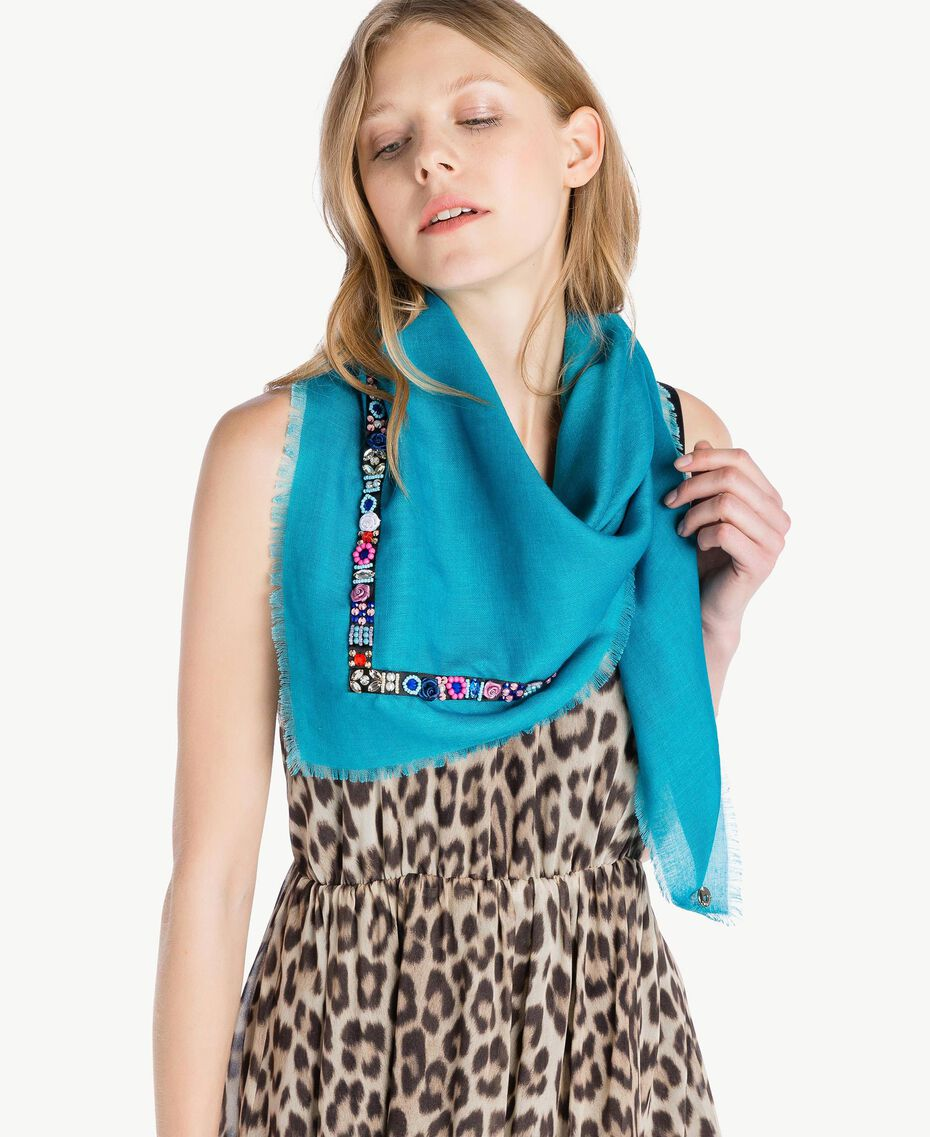 Embroidered keffiyeh Multicolour Embroidery Turquoise Woman AS8P3D-02