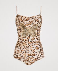 "Leopard print one-piece underwired swimsuit ""Petra Sandstone"" Brown Animal Print Woman 191LMMUXX-01"