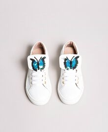 Leather sneakers with butterfly patch Pale Cream Child 191GCJ140-03