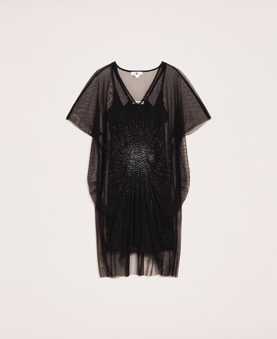 Tulle kaftan dress with sequins
