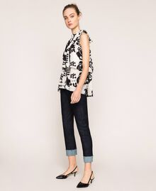 Printed georgette top with flounces White Liberty Print / Black Woman 201ST213F-02