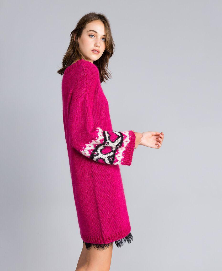 Kleid mit Jacquardherzen Kirschrot-Fuchsia Frau YA8313-01