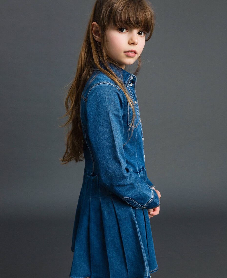 Denim effect shirt dress Mid Denim Child 192GJ2510-02