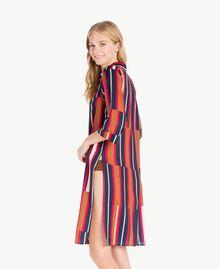 """Printed nightdress Tobacco Stripe / """"Love Bites"""" Fuchsia Female IA7RNN-04"""