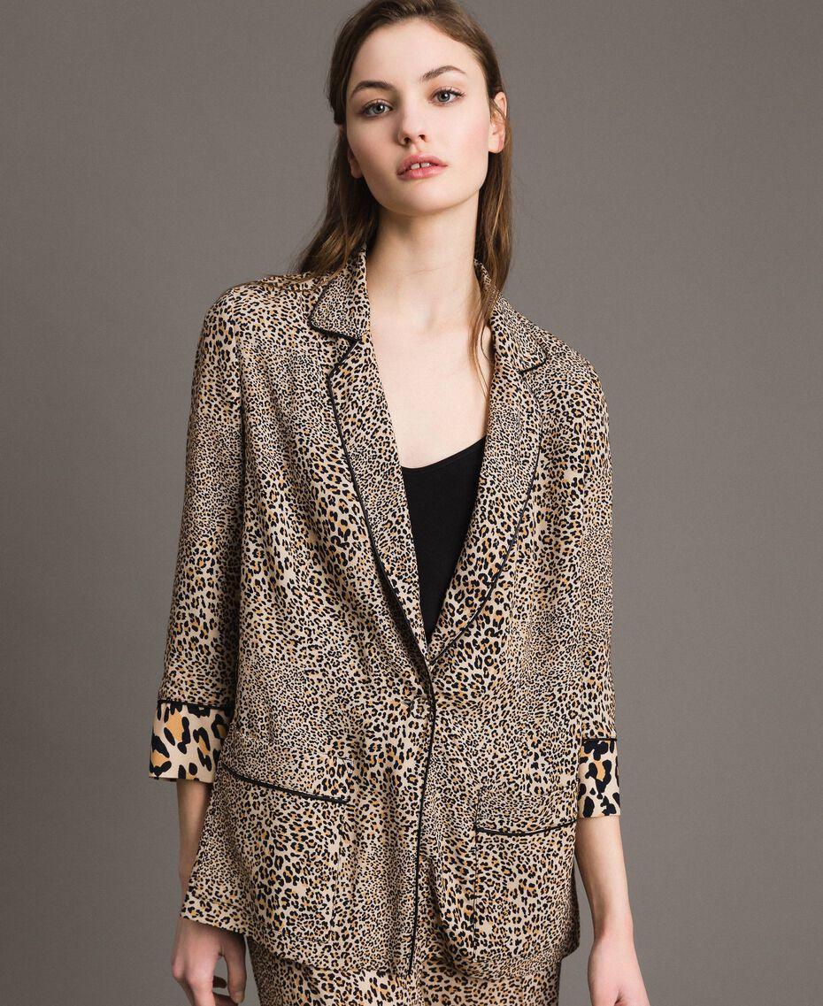 Animal print crêpe jacket Mixed Animal Print Woman 191TP2700-05