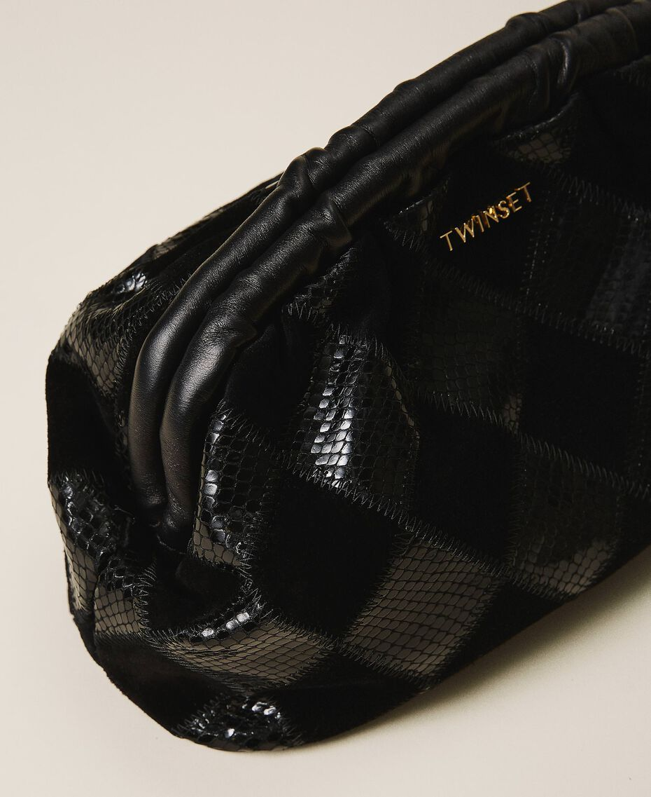 Diamond leather maxi pochette Two-tone Black / Black Diamonds Woman 202TD8033-03