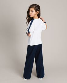 Jersey T-shirt with print and bows Two-tone Optical White / Indigo Child 191GJ2210-03