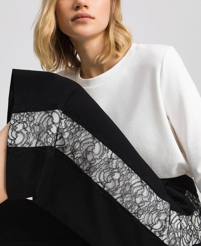 Pantalon ample avec dentelle Bicolore Noir / Blanc Neige Femme 192TP2097-01