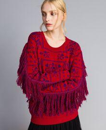 Maxi pull jacquard à franges Bicolore Violet Mûre / Rouge Cerise Femme QA8TBN-05