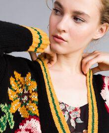 Maxicardigan aus Wollmischung Schwarz Frau PA83HN-04