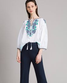 Flounced blouse with cross stitch embroideries White Woman 191MT2062-01