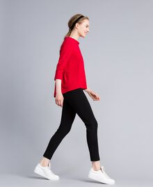 Milan stitch jumper with patch Venetian Red Woman PA821X-02