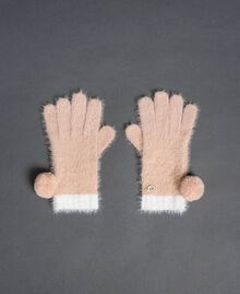 Fur effect pompom gloves Ivory / Nude Beige Woman 192LI4ZPP-01