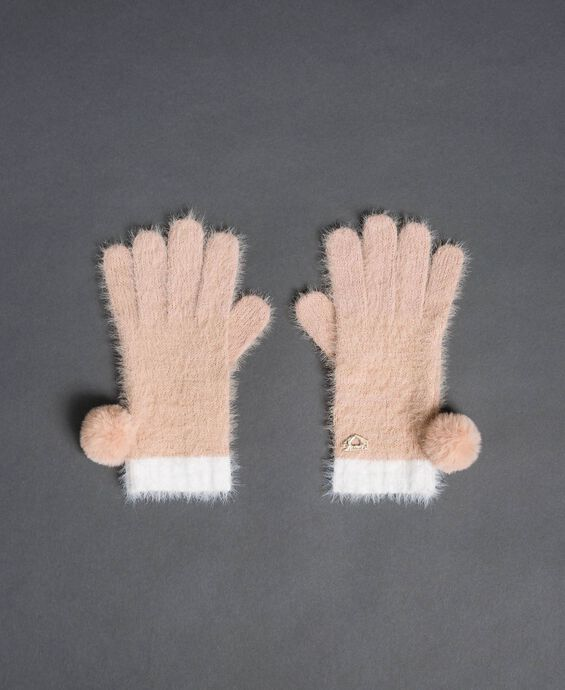 Fur effect pompom gloves