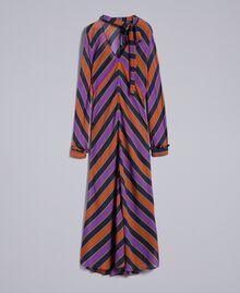 Robe longue en crêpe georgette rayé Imprimé Rayure Multicolore Femme TA8294-0S