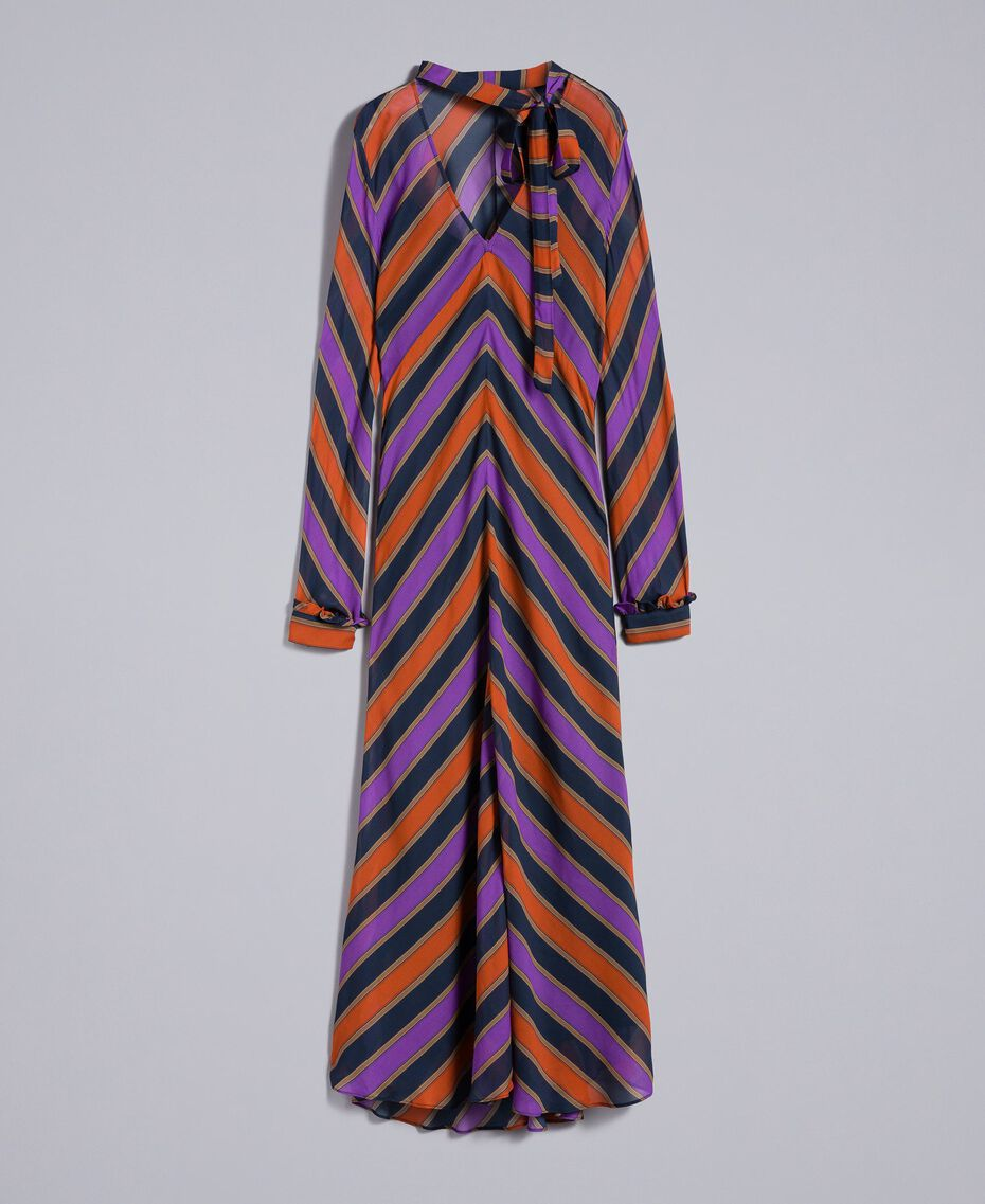 Maxikleid aus Georgette mit Streifen Streifenprint mehrfarbig Frau TA8294-0S