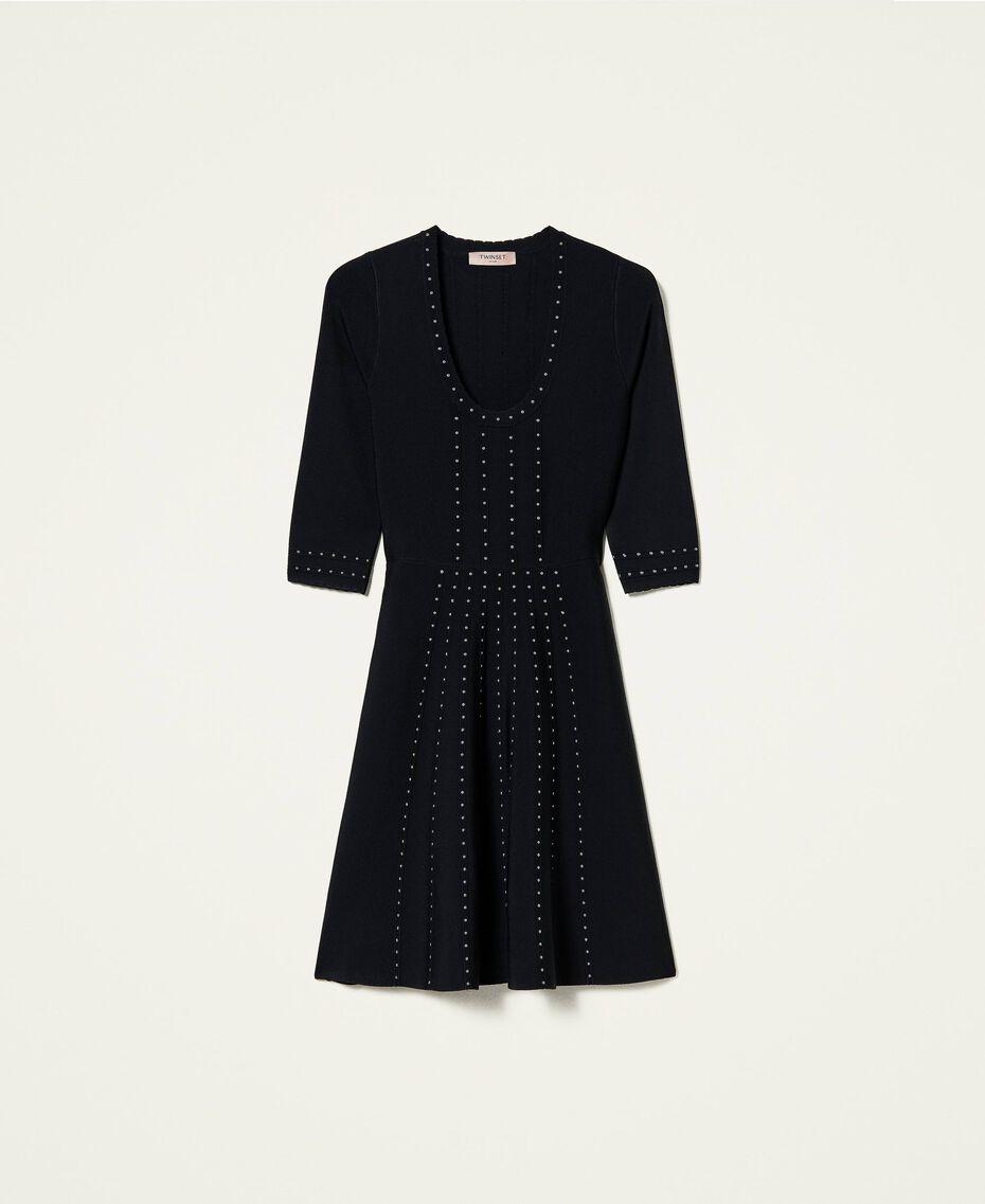Robe en maille avec clous Noir Femme 212TP3040-0S