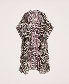 Animal print georgette kaftan Black Zebra Print Woman 201LB2GFF-0S
