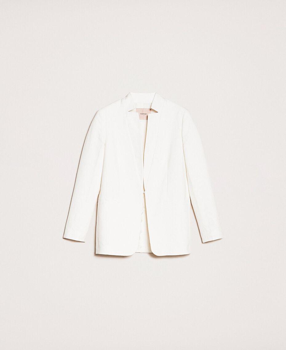 Blazer en lin mélangé Blanc Neige Femme 201TP2252-0S