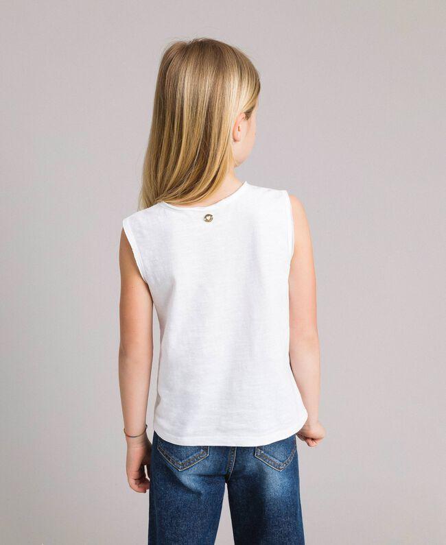 Jerseystoff-Top mit Lochstickerei-Verzierung Weiß Kind 191GJ2690-03