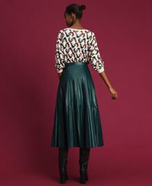 """Faux leather pleated midi skirt """"Forest"""" Green Woman 192ST2015-03"""