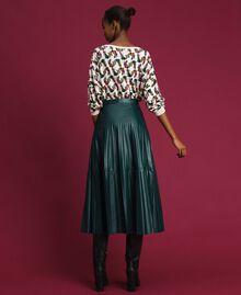 Jupe mi-longue en similicuir plissé Vert «Forêt» Femme 192ST2015-03