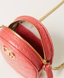 "Leather shoulder bag with crocodile print ""Neon"" Pink Croc Print Woman 211TD8034-04"