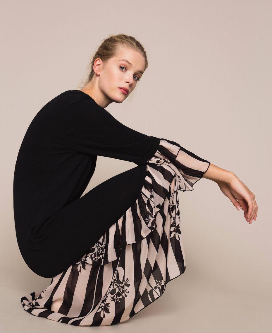 Трикотажное платье с набивными оборками Двухцветный Черный / Принт Полоска женщина 201TP3252-0T