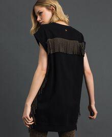 Maxisweatshirt mit Fransen und Mikronieten Schwarz Frau 192MP2231-03