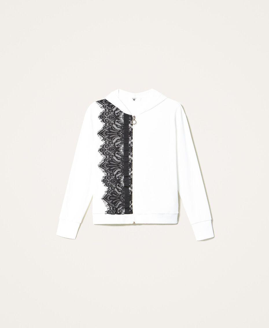 Scalloped lace sweatshirt White Woman 202LI2NHH-0S