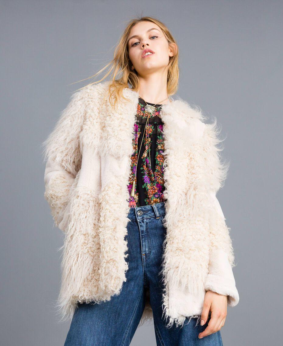 Manteau avec patchs de fausse fourrure Blanc Neige Femme TA82A1-01