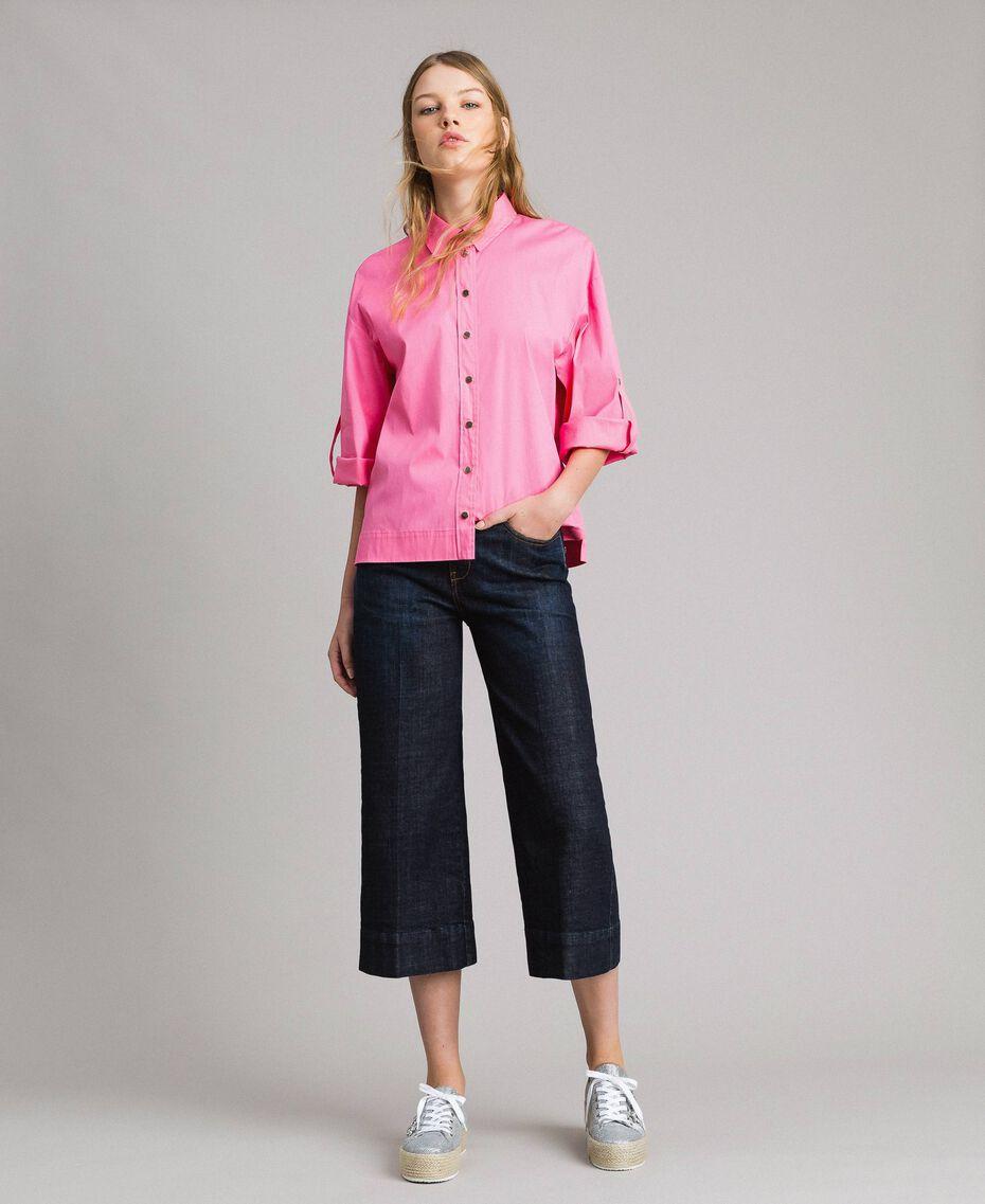 Weite Dreiviertel-Jeans Denimblau Frau 191MP2470-0T