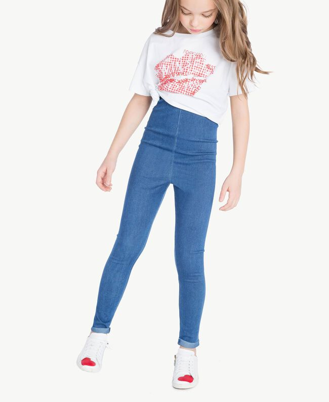 "Leggings jersey Blu ""Denim Medio"" Bambina GS82GR-02"