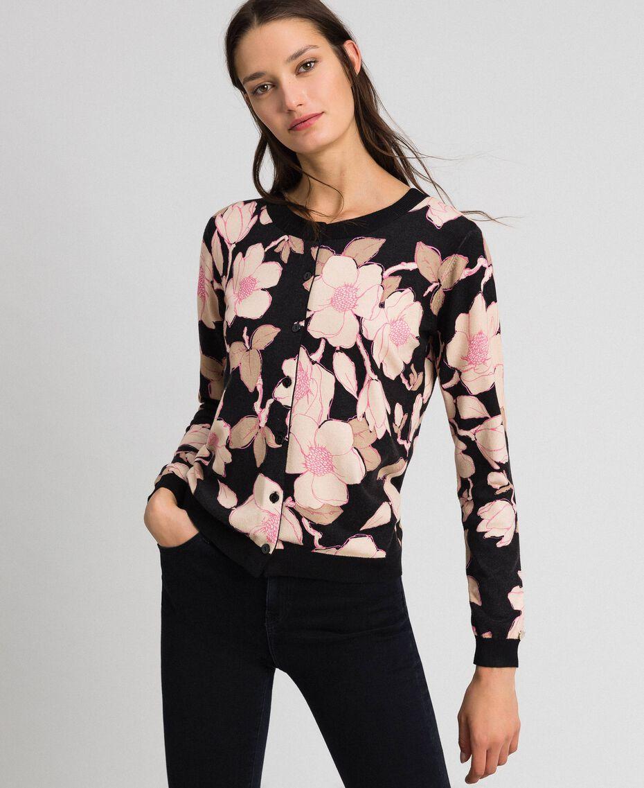 Floral print jumper-cardigan Black Floral Print Woman 192LL3KRR-01