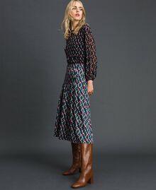 Trouser-skirt with print and pleats Fox Geometric Print Woman 192ST2142-02