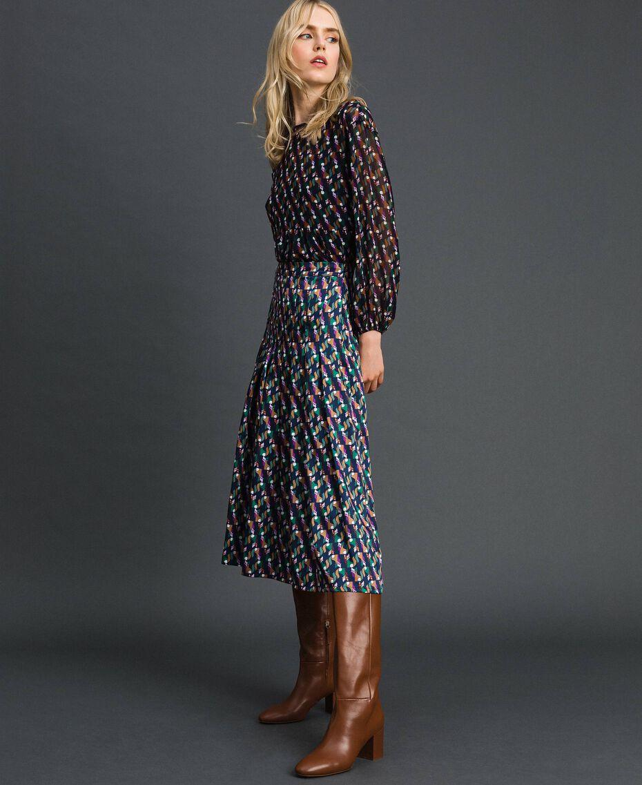 Falda pantalón con estampado y pliegues Estampado Geométrico Zorro Mujer 192ST2142-02