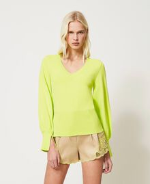 """Seamless jumper with wide sleeves """"Led"""" Yellow Woman 211TT3071-01"""