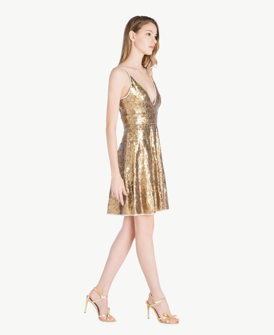All over sequin dress Gold Yellow Woman TS82ET-02