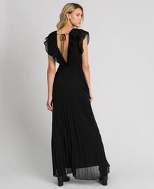 Pleated georgette long dress Black Woman 192TT2070-04