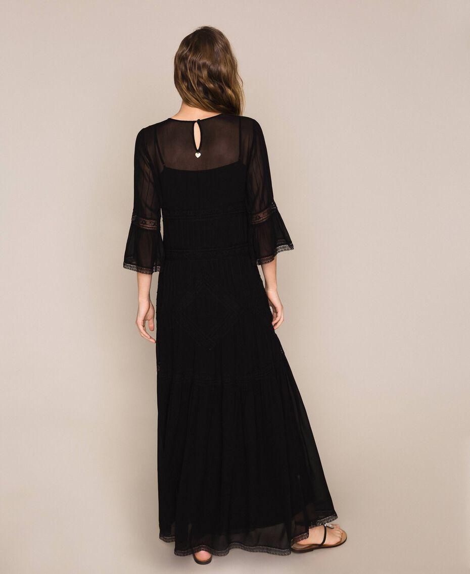 Robe longue en crêpe georgette avec dentelle Noir Femme 201TT2085-03