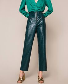 "Crocodile print faux leather trousers ""Forest"" Green Woman 201TP2361-04"